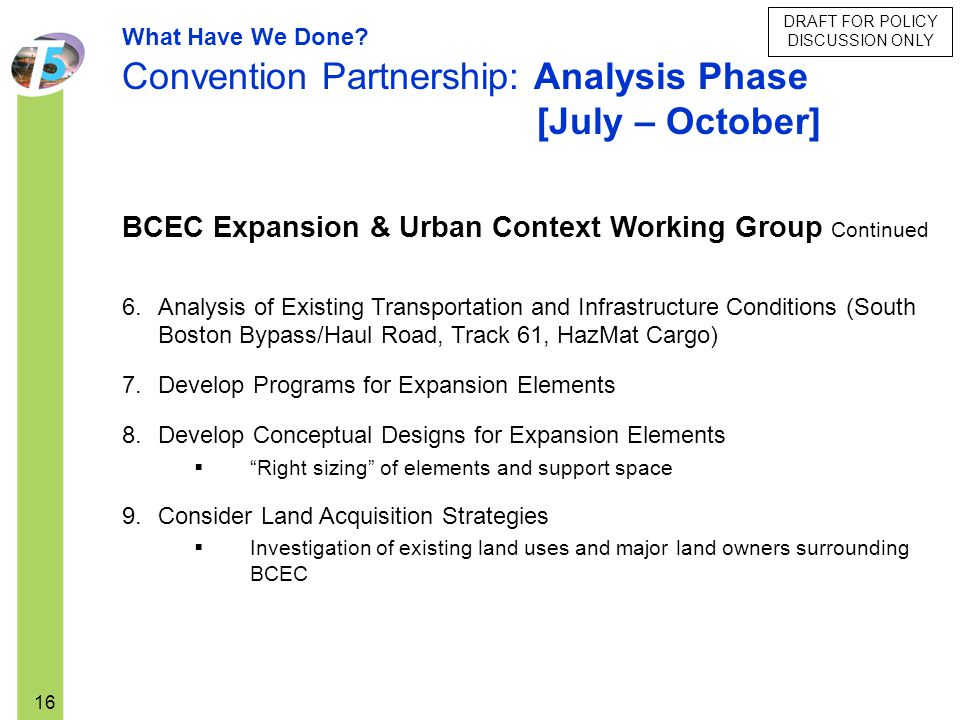 Convention Partnership: Analysis Phase [July – October]